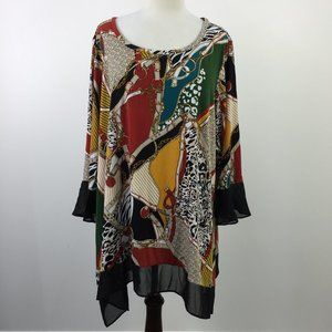 NWT Vip Sheer Multicolor Chain Linked Blouse